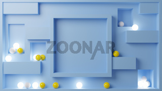 3D Illustration with yellow and white glowing spheres surrounding a frame.