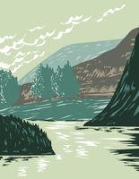 Missouri River in Missouri Breaks Located in Upper Missouri River Breaks National Monument in Montana USA WPA Poster Art