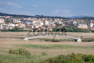 Wooden Bridge in the Park with Tall Green and Golden Vegetation - Esmoriz, Portugal