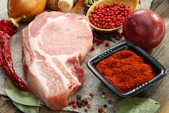 Fresh raw pork meat and spices.