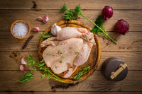 Raw chicken with onion