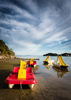 pedal boats on the beach of Kampor at Rab Island