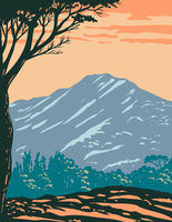 The Peak of Mount Tamalpais or Mount Tam Located Within Mt. Tamalpais State Park in Marin County California United States of America WPA Poster Art