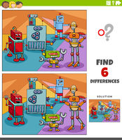 differences educational game with robots fantasy characters