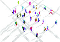 Group of people in different directions illustration