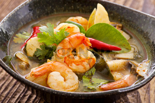 tom yam soup with seafood