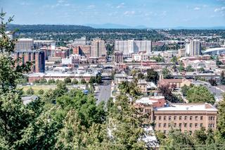 Spokane washington city skyline and streets