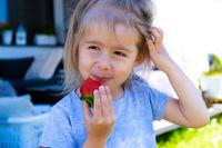 little blonde girl eating fresh strawberry