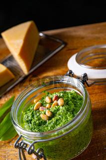 delicious wild garlic pesto with pine nuts