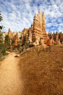 Hiking among the hoodoohs in the Queens Garden Trail. Bryce Canyon National Park. Utah USA