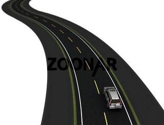 white modern car on the winding asphaltic road