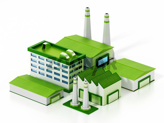Eco friendly factory compound isolated on white background. 3D illustration