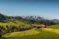 Appenzellerland with view of the Saentis, Canton Appenzell Ausserrhoden, Switzerland