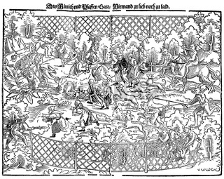 Monks' and priests' hunt, devils driving the un-Christian monks and priests to hell, satirical pamphlet from the 16th century