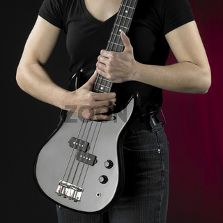 woman with bass guitar