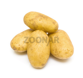 Potatoes close-up on white background