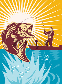 Largemouth Bass Fish Fly Fisherman Fishing rod