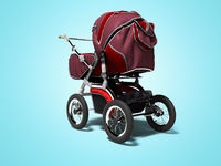 Red stroller for child in leather style for walk in the autumn 3d render on blue background with shadow