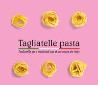 Italian pasta tagliatelle. raw pasta fettuccine pop art background, flat lay. Italian raw nest pasta isolated on pink