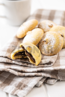 Cookies with chocolate cream. Sweet biscuits.