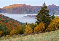 Cloudy and foggy autumn mountain early morning pre sunrise scene. Ukraine, Carpathian Mountains, Transcarpathia.