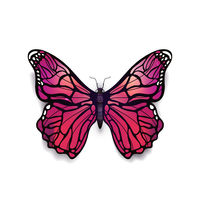 Beautiful light pink detailed realistic magic butterfly on white