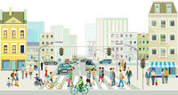 Streets with people and traffic in front of a big city illustration
