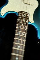 The neck and frets of a blue and ivory guitar on a