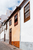 Traditional colonial architecture of Canary islands with colorful houses in Santa Cruz de la Palma
