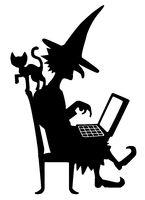 Witch Silhouette, Laptop Cat