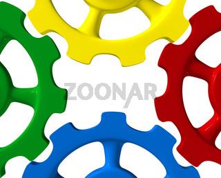 Bunte Zahnräder - Grün Rot Blau Gelb 2