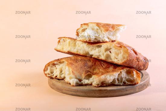 Fresh homemade flatbread close-up.
