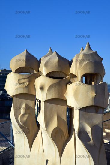 Barcelona. Catalonia. Spain. Casa Mila, popularly known as La Pedrera, meaning the