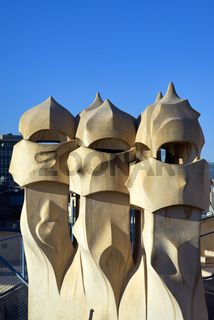 Barcelona. Catalonia. Spain. Casa Mila, popularly known as La Pedrera, meaning the 'The Quarry' by Gaudi