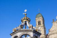 Well and Church-tower, Einsiedeln, Switzerland
