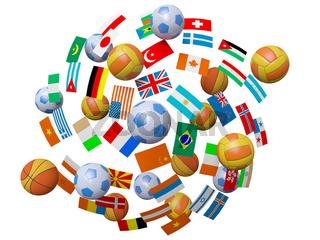 Football, volleyball, basketball balls