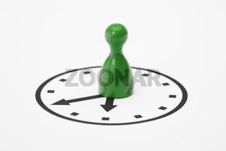 Spielstein auf Uhr