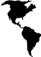 rough silhouette of American continent isolated on white