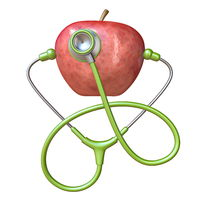 Stethoscope and red apple 3D
