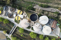 Aerial view of Piping and tanks of industrial factory