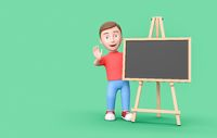 Young Kid 3D Cartoon Character with Blank Blackboard on Green with Copy Space