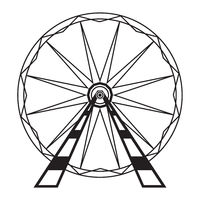 Ferris Wheel Icon Isolated on White Background. Attraction System. Amusement Park