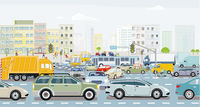 Big city with an intersection in traffic jam and public transport illustration