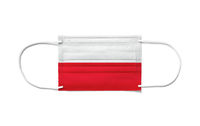 Flag of Poland on a disposable surgical mask. White background
