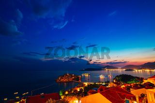 Island of Sveti Stefan. Panoramic shot