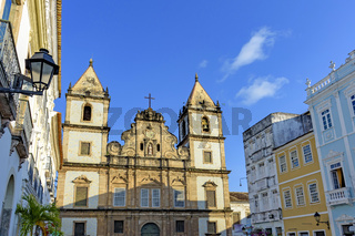 Old and historic church facade located in the central square of the Pelourinho district in Salvador