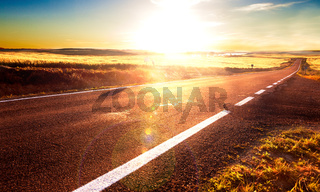 Road trip concept and sunset