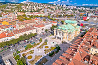 Croatian national theater in Rijeka square aerial view, fountain and architecture