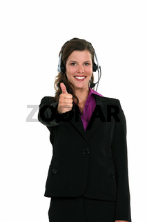 Receptionist giving the thumb's up