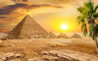 Pyramids and sun